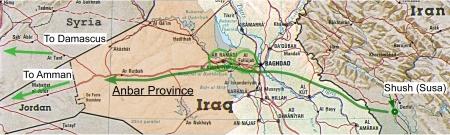 West from Susa thru Fallujah