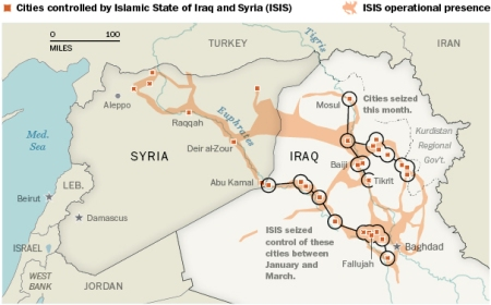 Areas Controlled by ISIS