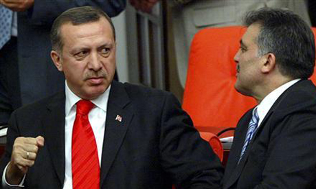Former political allies Erdogan and Gul in an otherwise friendly meeting that may have captured Erdogan's true thoughts