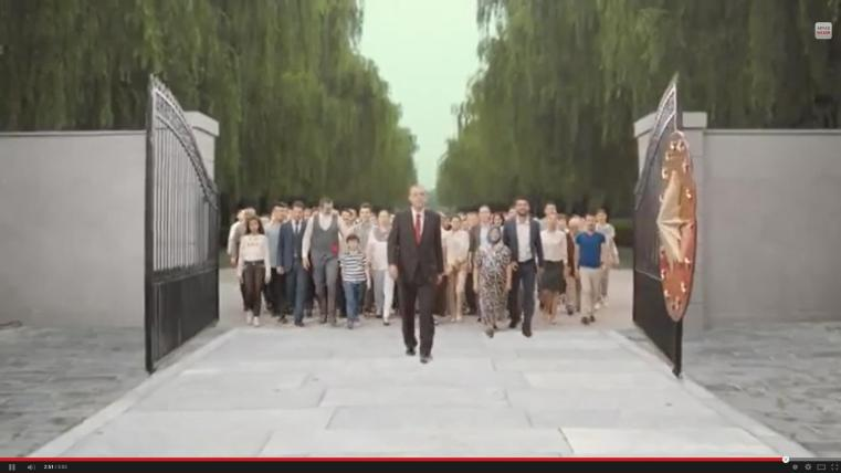 Erdogan seen as leading Turkey into a new era in a recent commercial for his Presidential campaign