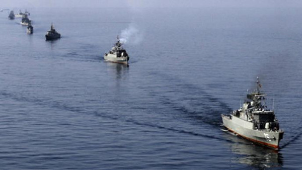 Iranian naval vessels during a military exercise