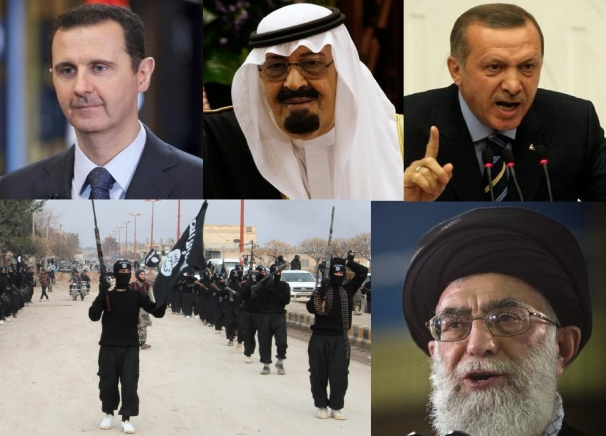 Five familiar images here in 2015, clockwise from top left: Syrian president Assad, Saudi king Abdullah, Turkish president Erdogan, Iranian supreme leader Khamenei, and ISIS militants.