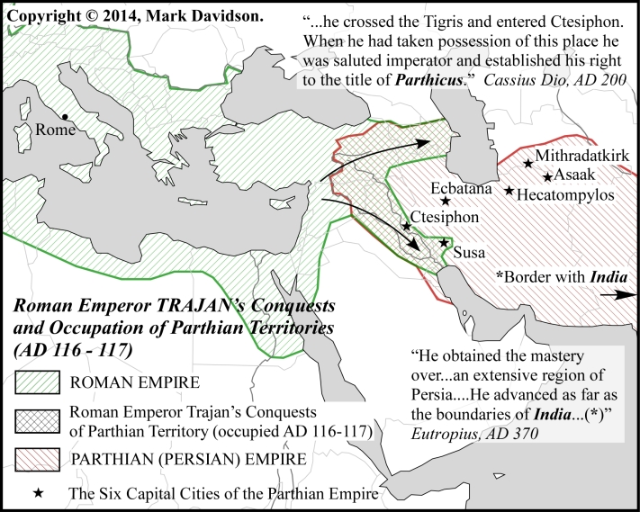 Map shows the true extent of Rome's conquests of Persian/Parthian territory, with Eutropius' exaggeration.