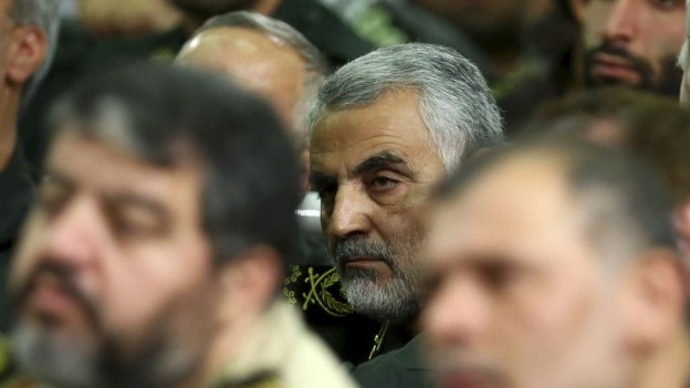 The elusive Major General Qassem Soleimani seen in a meeting in 2013.