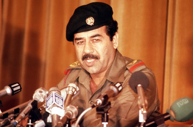 Saddam Hussein giving a speech in 1980.