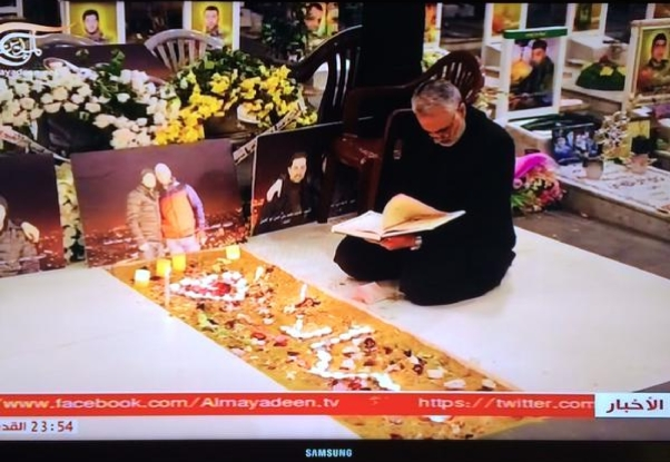 A snapshot from Iranian TV showing Soleimani at the grave of friend in Lebanon this past week.