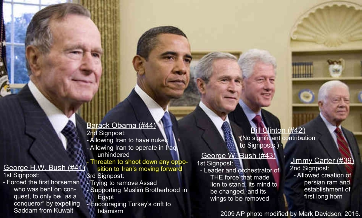 The five living U.S. Presidents gathered at the White House in 2009, with their end-time accomplishments, per the Signposts.