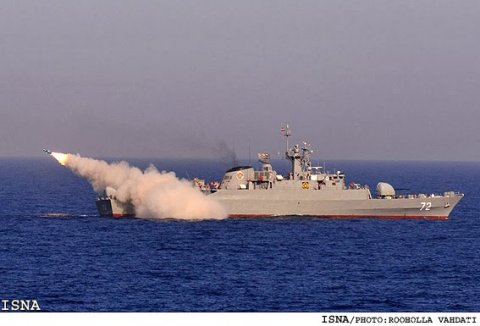 The missile destroyer Alborz, pictured here during a recent military exercise, is one of the two Iranian ships dispatched to Yemen.