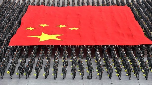 Chinese flag and soldiers