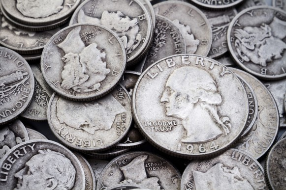 U.S. 90% silver, also known as junk silver.  Pre-1965 silver halves, quarters and dimes.