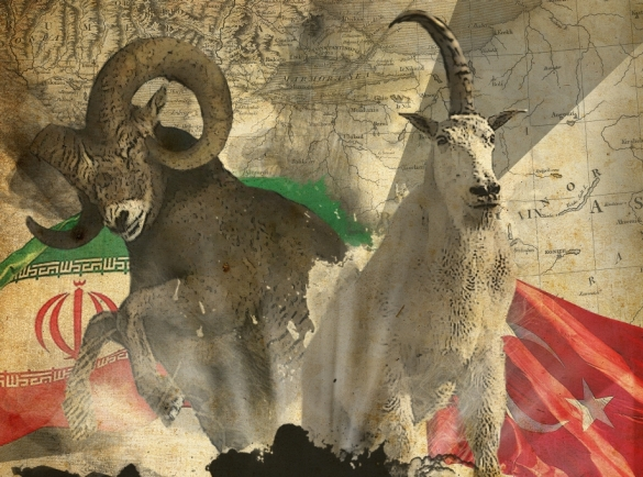 From the cover of Daniel Revisited: the Persian ram of Iran and the goat that is Turkey tell us of a great Mideast War to come.