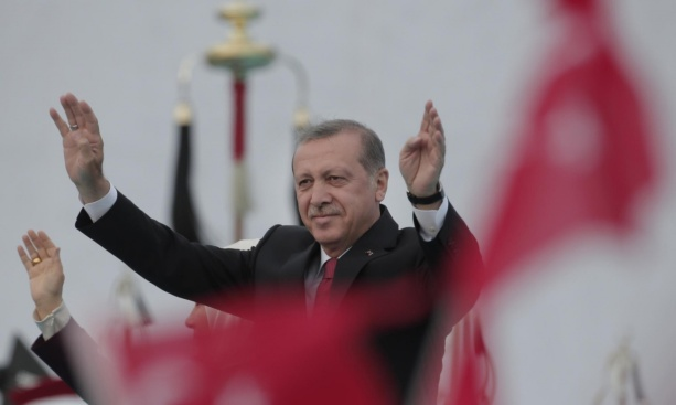 President Erdogan leads the celebration yesterday of the 562nd anniversary of the Turks conquering Constantinople