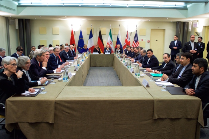 The nuclear negotiations with Iran in Lausanne on March 30, 2015.  Ms. Mogherini is to the left of the Iranian representative at the head of the table.  (U.S. Dept. of State photo)