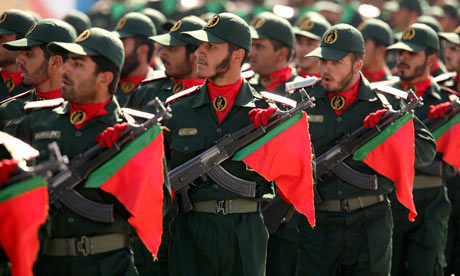 IRGC troops parading.