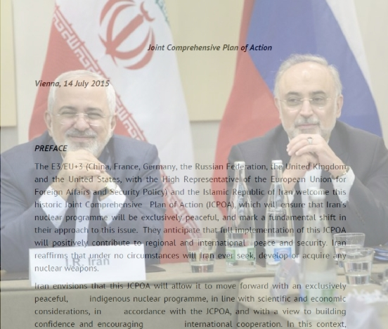 Iranian Foreign Minister Javad Zarif with the Head of Iranian Atomic Energy Organization Ali Akbar Salehi to his left, on March 30, seems to look pleased at how the JCPOA (the nuclear agreement) is being formed.