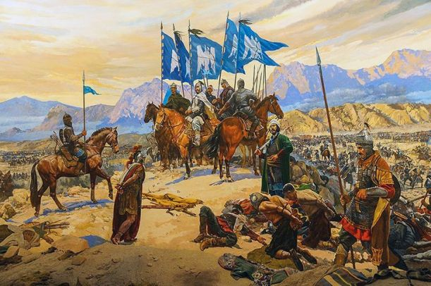 The aftermath of the Battle of Manzikert in AD 1071.  Painting by Cascioli.