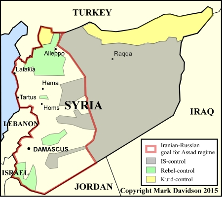 The partitioning of Syria in September 2015.  Note the dominance of IS and the precarious position of the Assad regime.