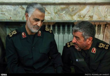 The two best candidates for the longer horn on the ram, leading the charge: Major General Qassem Soleimani, commander of the Quds force on the left, and Major General Ali Jafari, commander o the other four branches of the IRGC, on the right. Both men report directly only to the supreme leader.