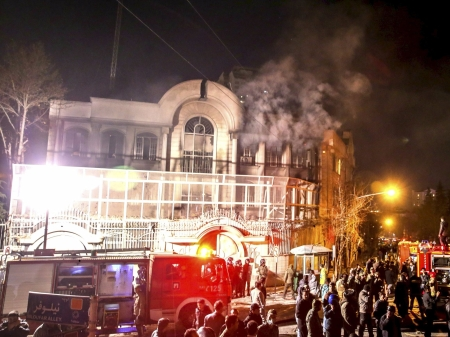 The Saudi embassy in Tehran is attacked and burned on New Years Day, in response to the execution of Shia cleric al-Nimr.