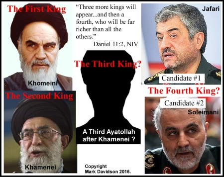 The first and second kings were Ayatollahs Khomeini and Khamenei who is currently ruling. There is a possibility of a third king, before the IRGC leadership takes the reigns as the second horn of the ram, another king.