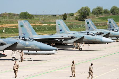 Saudi Arabian F-15s parked at Incirlik Air Base in Turkey.  Note the Saudi flag at the top of the tail, and note the green lush countryside that you don't see in most of the Arabian peninsula.  Any Saudi airstrikes would be coordinated with US and other Arab airstrikes.