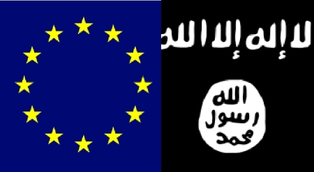 The European Flag on the left, the flag of IS on the right.