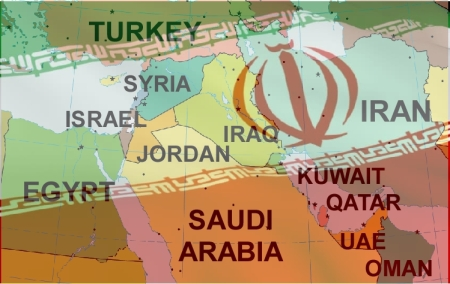IRAN flag over Middle East