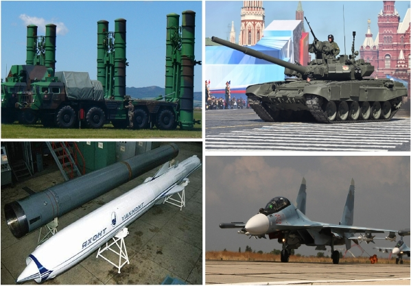 Iran's shopping list clockwise from upper left: S-300 missile batteries, T-90 tank in a parade in Moscow, Su-90 fighter like those used in the Syria airstrikes, and the Yakhont anti-ship missile.