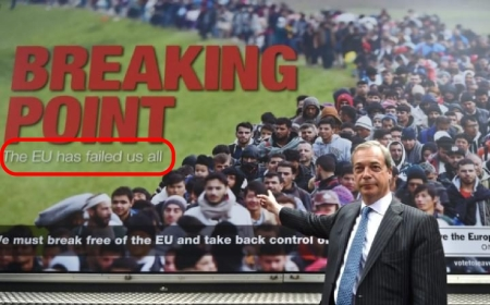 Nigel Farage, head of the UK Independent Party (UKIP) and one of the greatest supporters of the Brexit.  The ad he stood in front of had a tagline on it which I found might end up being the final tag line for supporters of the Roman Antichrist theory.