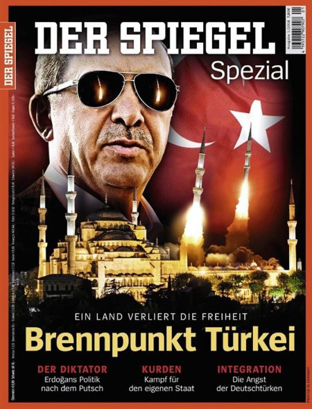 Der Spiegel's cover of the recent issue describing Erdoğan as a dictator and Turkey as losing its freedom.
