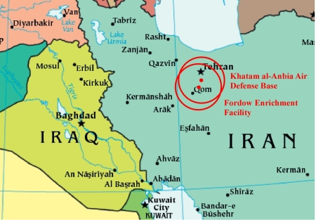 The IRGC Air Base and Fordow the fuel enrichment facility are shown as red dots.  The circles are the basic 60-mile range.  The range can double if the Iranians have purchased the enhanced version which is unknown at this time.