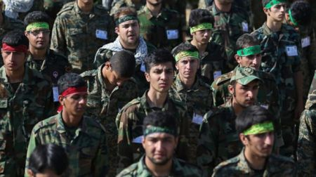 Soldiers of the million-plus-strong Basij in drill exercises.