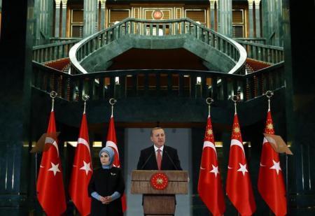 Erdoğan speaking last year from his Presidential Palace in Ankara.