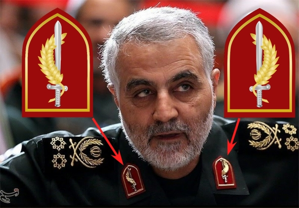 MG Qasem Soleimani and his red badges of the Second Signpost.