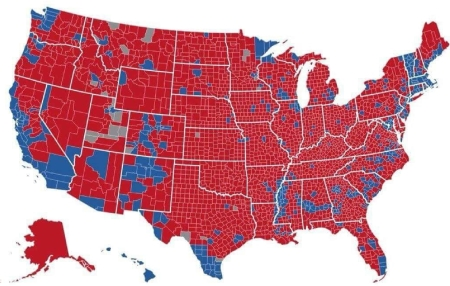 The 2016 presidential election map by county.