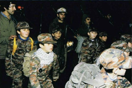 Children soldiers of the Basij sent to the front line during the Iran-Iraq War thirty years ago.