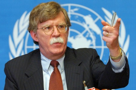 Undersecretary of State John Bolton speaks during a news conference at the United Nations in Geneva, Switzerland, in this Jan. 24, 2002 file photo.  Although presidential nominees are usually approved there have been exceptions and the latest fury surrounding Bolton, picked by President Bush as the next U.S. Ambassador to the United Nations, has people wondering if he may be one of those exceptions.  (AP Photo/Keystone, Laurent Gillieron, File) ** SWITZERLAND OUT **