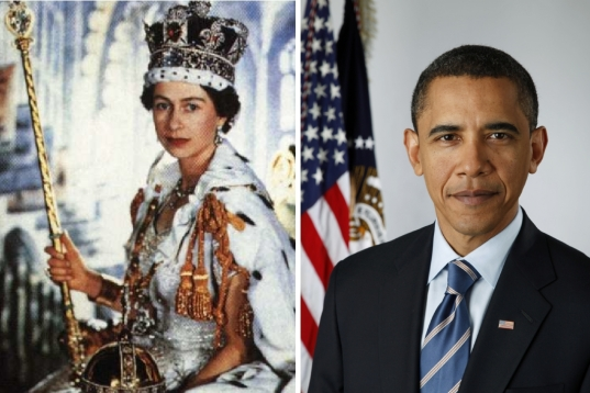 The forty-second monarch of England, her majesty Queen Elizabeth II (L), and Barack Hussein Obama, forty-second man to be the constitutionally elected president of the US, both in their official portraits.