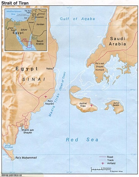 The two islands in question. The Egyptian mainland is toward the west, and Arabia is to the east. The inset shows that this involves Israel's access to the Red Sea.