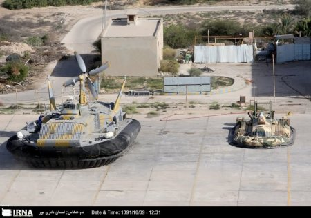 Two of Iran's hovercraft: a BH7 on the left and a small homegrown model (carries only 6) on the right.